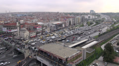 Busy intersection in Istanbul rush hour, junction, traffic, road, city, skyline Stock Footage