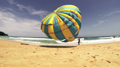 Parachute for tourists - stock footage