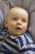 Germany, Hesse, Frankfurt, Cute baby boy, close up - stock photo