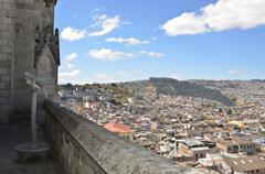 Ecuador, Quito, View of town at Basilica del Voto Nacional - stock photo