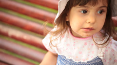 Little girl leaks cake. Stock Footage