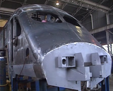 Stock Video Footage of High speed rolling stock fabrication shop PAL