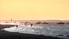 French beach vacation silhouettes - 1080p Stock Footage