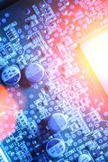 circuit board abstract background - stock photo