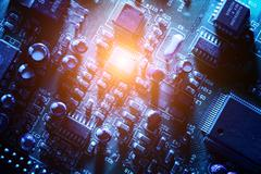 circuit board abstract background texture. - stock photo