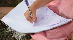 Girl art drawing lesson detail. Stock Footage