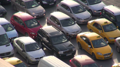 Cars are stuck in a traffic jam during rush hour in Istanbul, Turkey Stock Footage