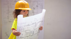 Child architect construction man. Stock Footage