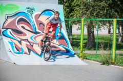 workout fans of bike trial - stock photo