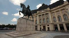 King carol 1st of romania equestrian statue in bucharest romania. Stock Footage