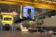 High speed rolling stock fabrication shop NTSC - stock footage