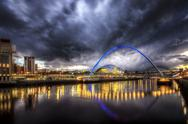 Stock Photo of United Kingdom, England, Newcastle, View of River Tyne and Millenium Bridge