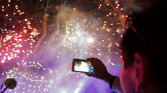 Filming fireworks - stock footage