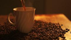 Coffee Pouring a steaming cup of coffee 00004 Stock Footage
