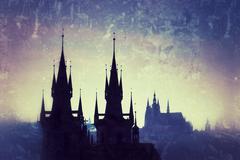Prague cityscape at twilight Stock Photos