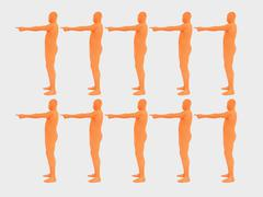 Men pointing in direction against white background, close up - stock photo