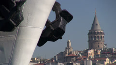 Galata tower, ferry bow, Istanbul Stock Footage