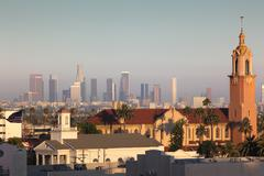hollywood and downtown los angeles - stock photo