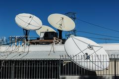 Parabolic dish antennas Stock Photos