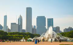 chicago downtown cityscape with buckingham fountain at grant park - stock photo