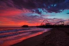 Santa monica pier at sunset Stock Photos
