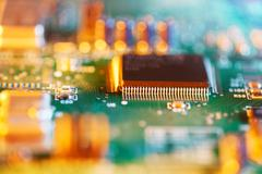 Processor chip on circuit board Stock Photos