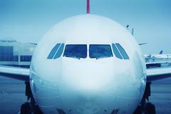 jet airplane front - stock photo