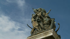 Statues at Victor Emmanuel II National Monument (dolly) Stock Footage