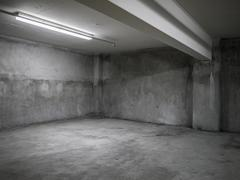 gray concrete interior. - stock photo