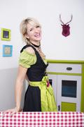 Young woman with traditional bavarian dress, smiling, portrait Stock Photos
