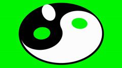 Rotating yin yang symbol Stock Footage