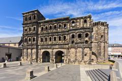 Germany, Rhineland Palatinate, Trier, View of Porta Nigra Stock Photos