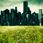 City as background, abstract natural landscape Stock Photos