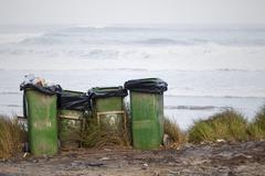 Stock Photo of Portugal, Dustbin at beach