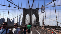 Brooklyn Bridge Pedestrians - stock footage