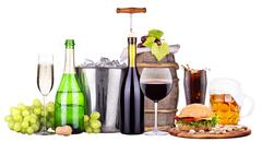 Set of different alcoholic drinks and food - stock photo