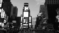 Time Square TIme Lapse (Fade from B&W to Color) - stock footage