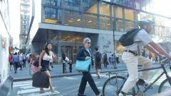Manhattan Pedestrians Cross Busy Street in Manhattan New York City - stock footage