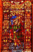 moses stained glass angel statue cathedral of saint mary of the see seville a - stock photo