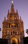 night church lights parroquia archangel church san miguel mexico - stock photo