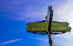 sign post for location in hakodate japan - stock photo