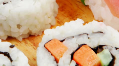 California Maki Roll with Nigiri set on plate Stock Footage