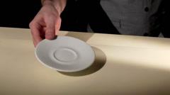 Barista drawing milk foam on coffee Stock Footage