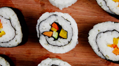 Japanese Cuisine - Maki Rolls and California Rolls Stock Footage