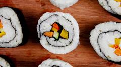 Japanese Cuisine - Maki Rolls and California Rolls - stock footage