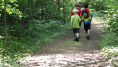 Three boys walking along trail into woods Stock Footage