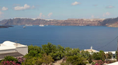 Cruise ships by the Santorini island HD Stock Footage