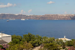 Timelapse of cruise ships by the Santorini island NTSC Stock Footage