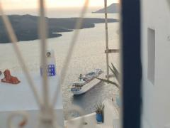 Cruise ships by the Santorini island NTSC Stock Footage