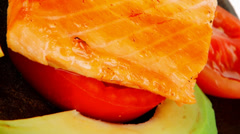 Grilled salmon on pan Stock Footage